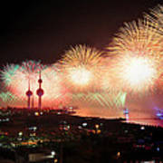 Fireworks Over Kuwait City Poster