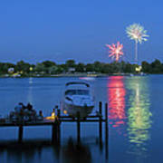Fireworks Over Stony Creek Poster by Brian Wallace