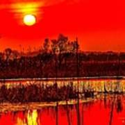 Firey Dawn Over The Marsh Poster