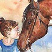 Horse Painting Of Paint Horse And Girl First Kiss Poster
