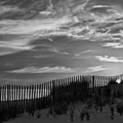First Light At Cape Cod Beach Bw Poster