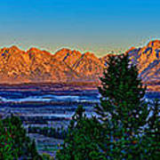 First Light On The Tetons Poster