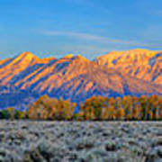 First Light On The Tetons Limited Edition Panorama Poster