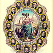 First Sixteen Usa Presidents 1861 Poster