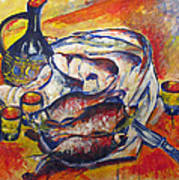 Fish And Wine Poster by Vladimir Kezerashvili