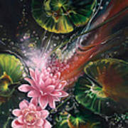 Fish In The Lily Pond Poster by Lynette Yencho