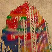 Fisher Building Iconic Buildings Of Detroit Watercolor On Worn Canvas Series Number 4 Poster
