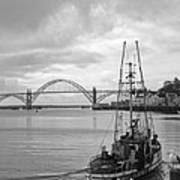 Fisherman At Newport Bay In Oregon Poster