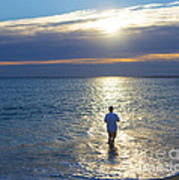 Fisherman At Sunrise Poster by Diane Diederich