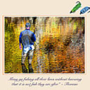 Fisherman In Autumn Poster