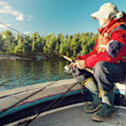 Fisherman Sitting On Foredeck Poster