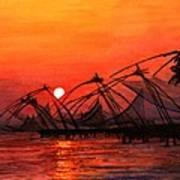 Fisherman Sunset In Kerala-india Poster by Vidyut Singhal