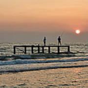 Fishermen At Sunset. Poster by Alexandr  Malyshev