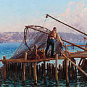 Fishermen Bringing In The Catch Poster