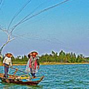 Fishermen Casting A Broad Net On Thu Bon River In Hoi An-vietnam Poster