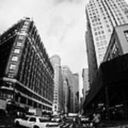 Fisheye Shot Of Yellow Cab On Intersection Of Broadway And 35th Street At Herald Square New York Poster by Joe Fox
