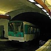 Fisheye View Of Paris Subway Train Poster
