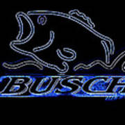 Fishing And Busch Beer In Neon Poster