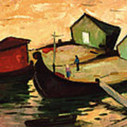 Fishing Barges On The River Sugovica Poster by Emil Parrag