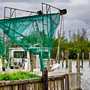 Fishing Boat And Pelicans On Posts Poster
