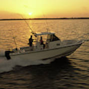 Fishing Boat Coming In At Sunset Poster