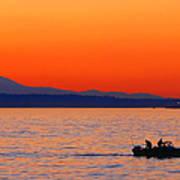 Fishermen At Sunset Puget Sound Washington Poster