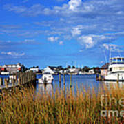 Fishing Boats At Dock Ocracoke Island Poster