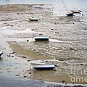 Fishing Boats At Low Tide Poster