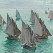 Fishing Boats Calm Sea Poster