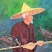 Fishing Cormorants Poster
