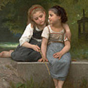 Fishing For Frogs Poster by William Bouguereau