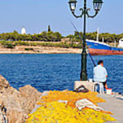 Fishing In Spetses Town Poster