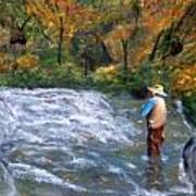 Fishing In The Fall Poster