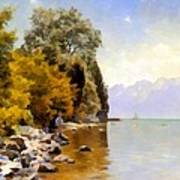 Fishing On Lac Leman Poster