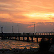 Fishing Pier Sunrise Poster