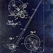 Fishing Reel Patent 1939 Blue Poster
