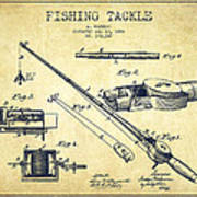 Fishing Tackle Patent From 1884 Poster
