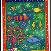 Fishy Christmas, 1997 Wc And Pastel On Paper Poster