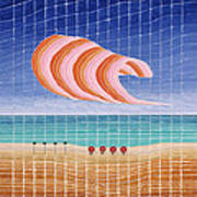 Five Beach Umbrellas Poster