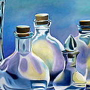 Five Clear Bottles Poster