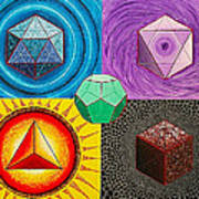 Five Platonic Solids - Fire Poster
