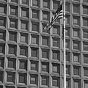 Flag And Windows In Black And White Poster