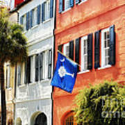 Flag Of Charleston With Palmetto And Crescent Moon Poster