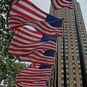 Flags At Rokefeller Plaza Poster