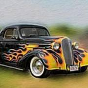 Flames On Wheels Poster