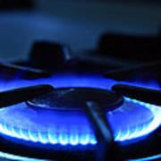 Flaming Blue Gas Stove Burner Poster