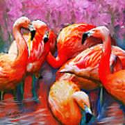 Flaming Flamingos Poster