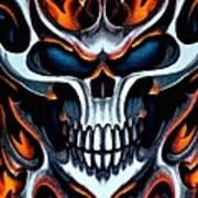 Flaming Skull Poster
