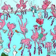 Flamingo A Go Go Poster