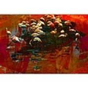 Flamingo Colours Poster